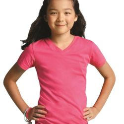 2607 Girls' V-Neck Fine Jersey T-Shirt Thumbnail